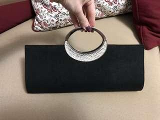 Black Satin Clutch with Crystals