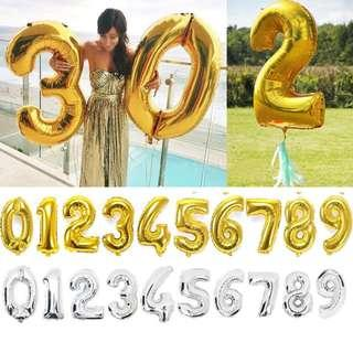🚚 Number balloons. Gold number balloons. Silver number balloons