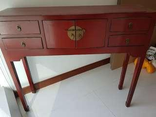Antique Chinese display table with drawers