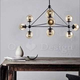 復古工業風 琥珀色玻璃球燈 10盞燈 含LED燈泡 吊燈