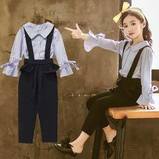 🚚 預購「110-160條紋大領襯衫+吊帶長褲童裝 」