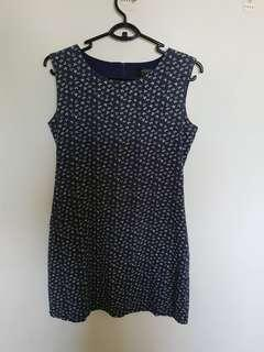 Navy Dress with Ribbon Prints