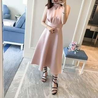 Mid long light pink dress