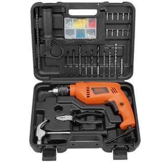 Black Decker Hammer Drill 550W Perkakas Set Mesin Bor Tembok HD555B1