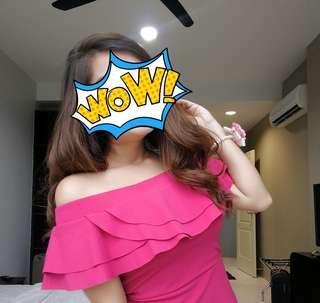 Off Shoulder Pink Mini Dress