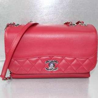 Chanel Red Calf Sling/shoulder Bag
