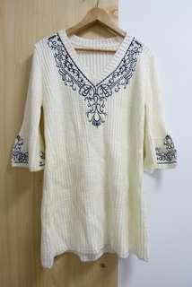 [二手私人衣著] 冬季洋裝 米白