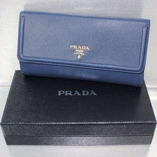 Prada Blue Leather Long Wallet