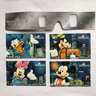 HK Disneyland Admission Ticket Mickey; Minnie; Donald Duck; Goofy Dog 2007/2008 (Used) with one Hologram Viewer.  香港迪士尼入場門票(曾使用) 2007/2008 米奇老鼠; 米妮老鼠; 唐老鴨; 高飛狗圖案加立體光影眼鏡