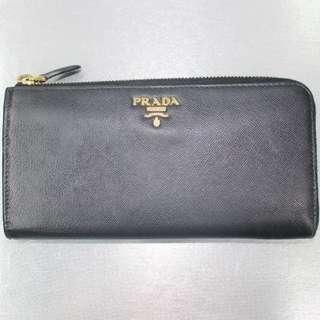 Prada Black Saffiano Long Wallet