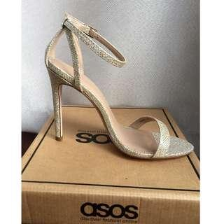 ASOS HIGH FIVE Heeled Sandals - Gold / Size 38 / UK 5, BRAND NEW