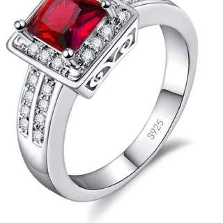 Red 925 silver ring