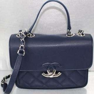 SALES!! Chanel Blue Calf Sling/Handbag