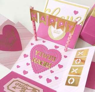 Valentine day Explosion box Card in hot Pink and gold