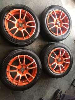 "15"" rims with tyres set"