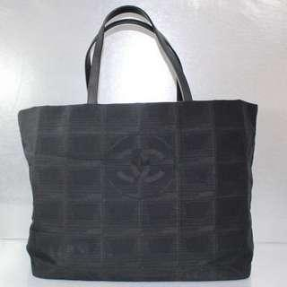SALES!! Chanel Black Travel Line Tote Shopping Bag