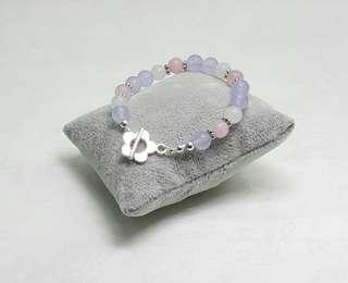 Handmade Beaded Bracelet - Purple Agate,Rose Jade, & White Jade