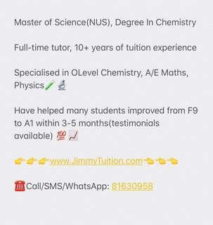 Chemistry A/E Maths Tuition @ Full Time Tutor