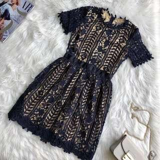 Blue Fit and Flare Crochet Lace Dress with Sleeve M L XL