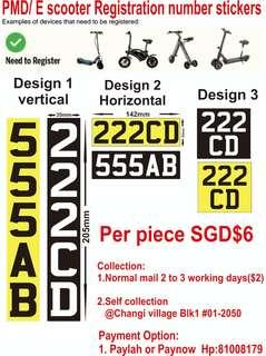 🚚 E scooter / PMD plate number stickers. One piece 8 dollars including normal mail.