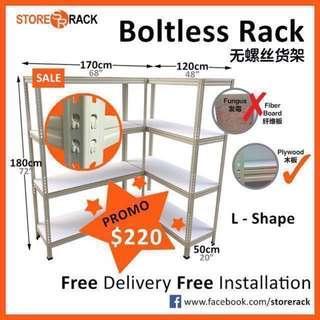 Boltless L Shape Storage Rack for Bombshelter