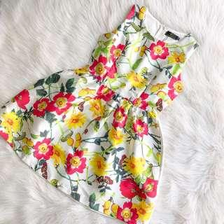 CNY Fit and Flare Floral White Dress Sleeveless S M L