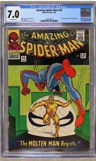Amazing Spider-man #35 CGC 7.0  (1966 1st Series) Script By Stan Lee, Artwork By Steve Ditko- The All-Time Original Creators of Spider-man! Super-Rare Vintage Collectible!