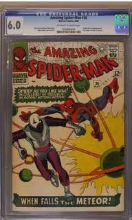 Amazing Spider-man #36 CGC 6.0 (1966 1st Series) Script By Stan Lee, Artwork By Steve Ditko- The All-Time Original Creators of Spider-man! Retro,Vintage & Great!
