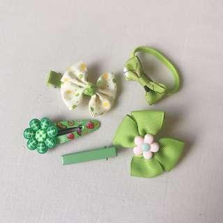 *NEW* 5x Girls green tone hair accessories