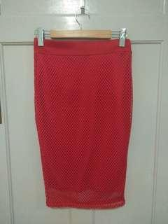 AX Paris red mesh pencil skirt