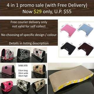 (free delivery) 4 in 1 promo sale, cat kitten carrier litter mat scratch board, not condo tree cushion bed food