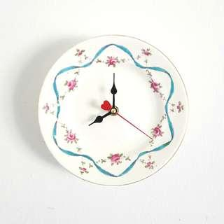 Handmade wall clock, antique English china plate clock, hand-decorated blue ribbon and rose swags