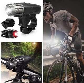 Bike bicycle USB front light+ruby rear light+bell