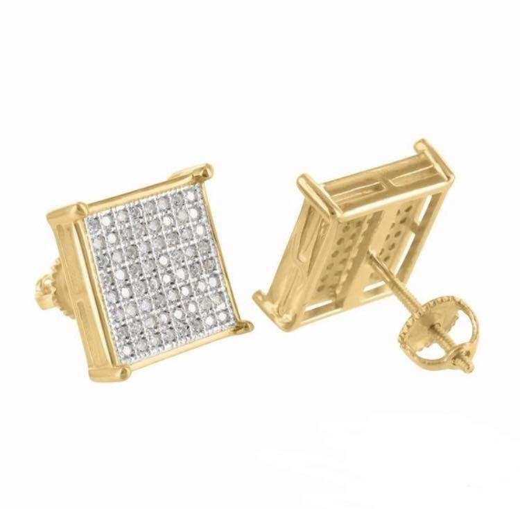 18k gold cubic zirconia 8x8mm stone with screw backings