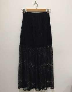 Forever 21 Lace Maxi Skirt Size M