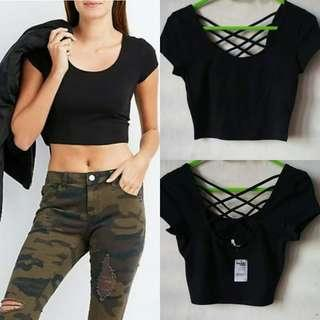 #Charlotte Russe Black Crop top OVERRUNS