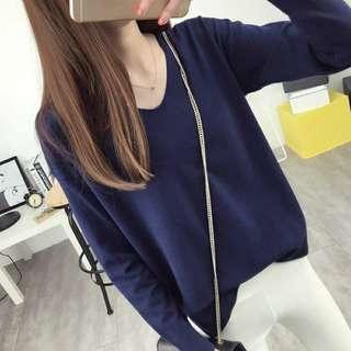 🚚 C272  V領素色針織衫毛衣