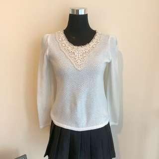 White Korean Lace Blouse with Pearl