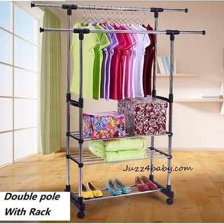 Free delivery double pole Clothes Hanger Rack