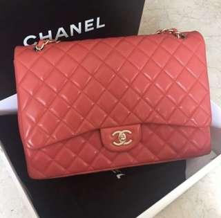 CHANEL CLASSIC MAXI SINGLE FLAP CORAL PREOWNED