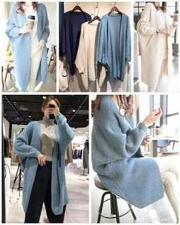 #2019韓版春款AL5808蝙蝠袖針織寬鬆長外套