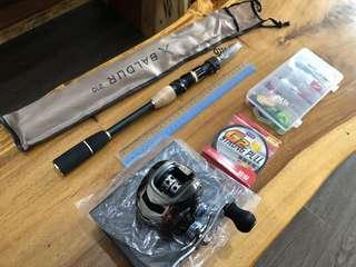 33cm telescopic retractable rod bc baitcaster bait caster fishing rod reel set lefty grip trip tackle line
