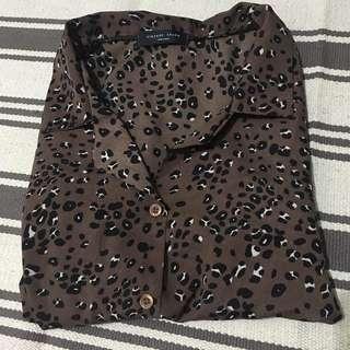 正韓深咖啡豹紋襯衫
