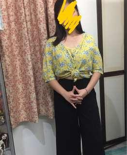 Yellow Floral Blouse w/ Blue Roses