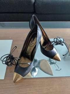 Authentic YSL leather lace up pointy heels