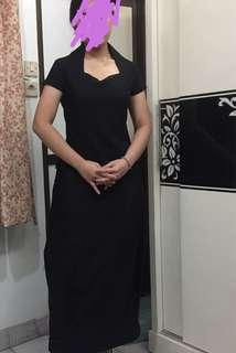 Classy Long Black Dress with Victorian Collar
