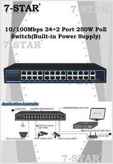 16/24 Port PoE Switch-24+2 Port 250W POE Switch (Built-in Power Supply - Industrial Quality) 7-STAR* 4/8/16/24 Port POE Network Switch