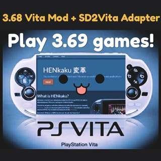 15 min Sony PS Vita mod + sd2vita adapter for ≤3.68 firmware henkaku hencore