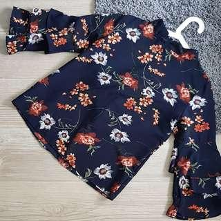 Floral Top in Navy