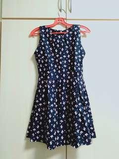 Dark blue dress with pink ribbon prints